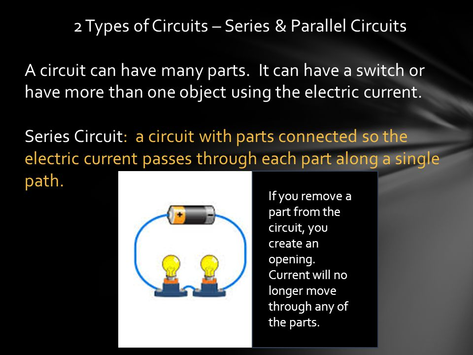 2 Types of Circuits – Series & Parallel Circuits A circuit can have many parts. It can have a switch or have more than one object using the electric c