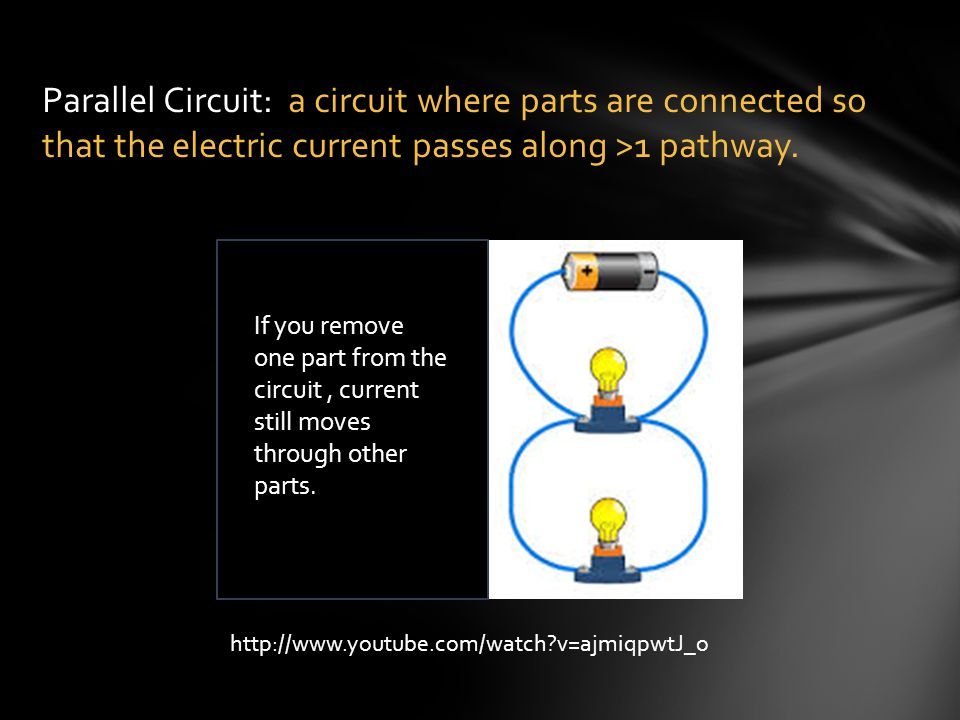 Parallel Circuit: a circuit where parts are connected so that the electric current passes along >1 pathway. If you remove one part from the circuit, c