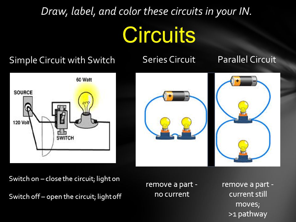 Draw, label, and color these circuits in your IN. Simple Circuit with Switch Series CircuitParallel Circuit remove a part - no current remove a part -