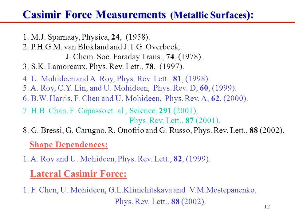 12 Casimir Force Measurements (Metallic Surfaces ): 1.
