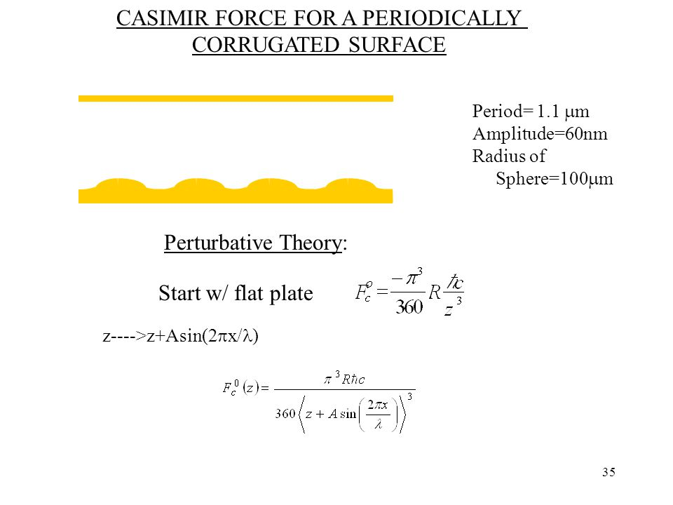 35 CASIMIR FORCE FOR A PERIODICALLY CORRUGATED SURFACE Period= 1.1  m Amplitude=60nm Radius of Sphere=100  m Perturbative Theory: Start w/ flat plate z---->z+Asin(2  x/ )