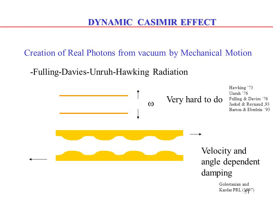 51 DYNAMIC CASIMIR EFFECT Creation of Real Photons from vacuum by Mechanical Motion -Fulling-Davies-Unruh-Hawking Radiation Velocity and angle dependent damping Golestanian and Kardar PRL (1997)  Very hard to do Hawking '73 Unruh '76 Fulling & Davies '76 Jaekel & Reynaud,93 Barton & Eberlein '93