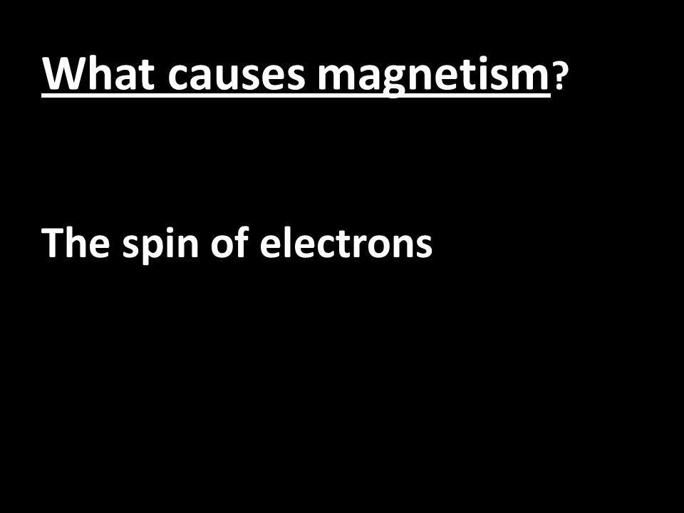 What causes magnetism ? The spin of electrons