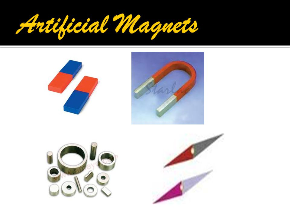  There are 2 types of magnets :  1) Natural Magnets:  They have low magnetic power.