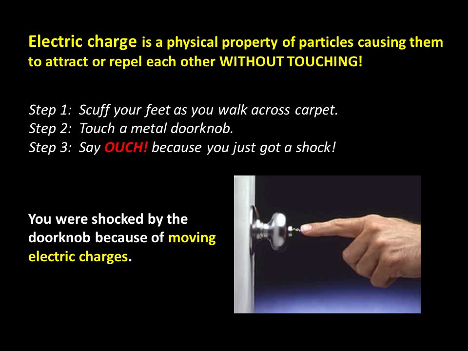 Electric charge is a physical property of particles causing them to attract or repel each other WITHOUT TOUCHING.