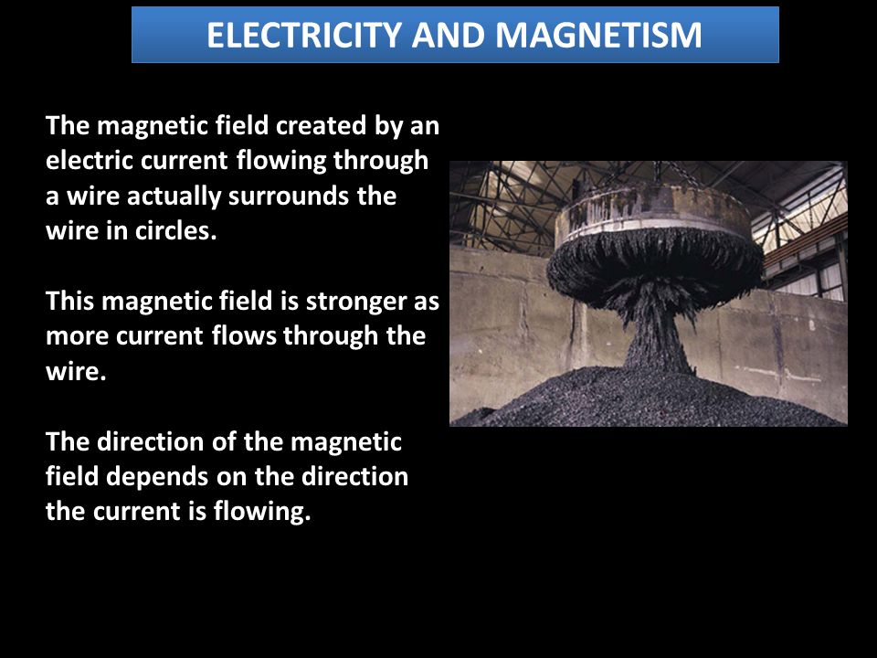 ELECTRICITY AND MAGNETISM The magnetic field created by an electric current flowing through a wire actually surrounds the wire in circles.