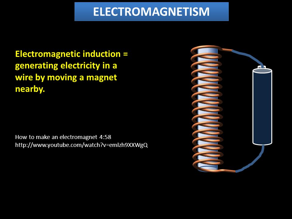 ELECTROMAGNETISM Electromagnetic induction = generating electricity in a wire by moving a magnet nearby.
