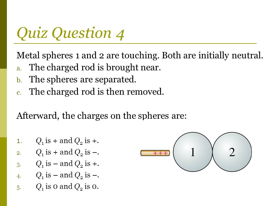 Quiz Question 4 Metal spheres 1 and 2 are touching.