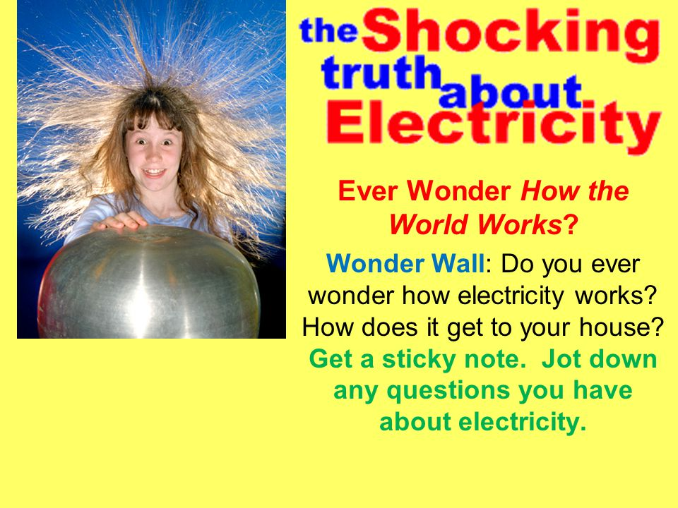 Ever Wonder How the World Works.Wonder Wall: Do you ever wonder how electricity works.
