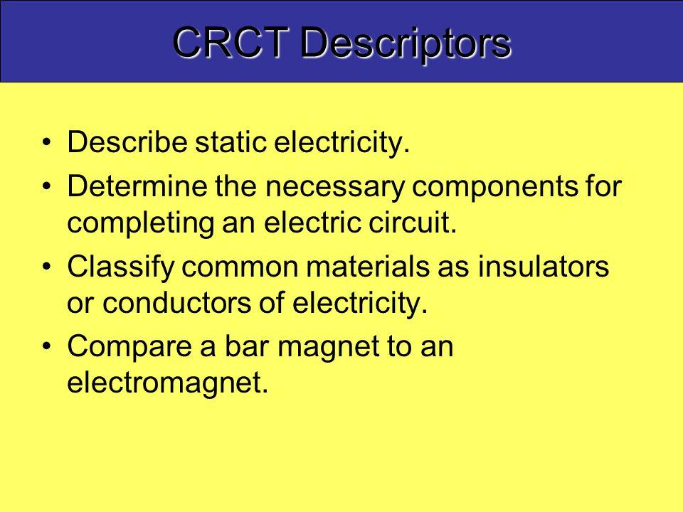CRCT Descriptors Describe static electricity.