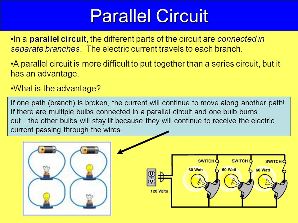 Parallel Circuit parallel circuitconnected in separate branchesIn a parallel circuit, the different parts of the circuit are connected in separate branches.