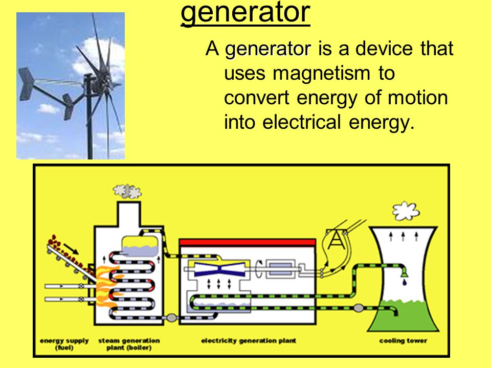 generator generator A generator is a device that uses magnetism to convert energy of motion into electrical energy.