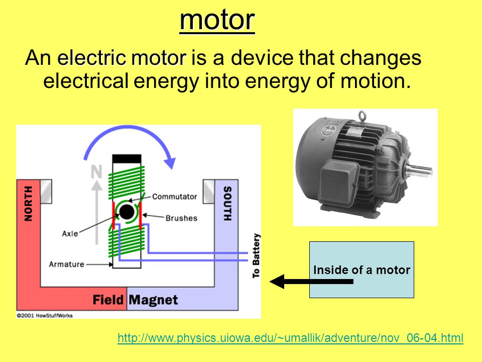 motor electric motor An electric motor is a device that changes electrical energy into energy of motion.