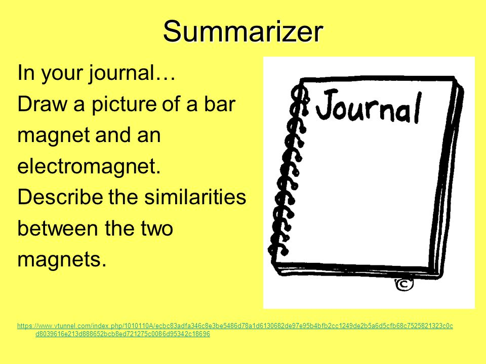 Summarizer In your journal… Draw a picture of a bar magnet and an electromagnet.