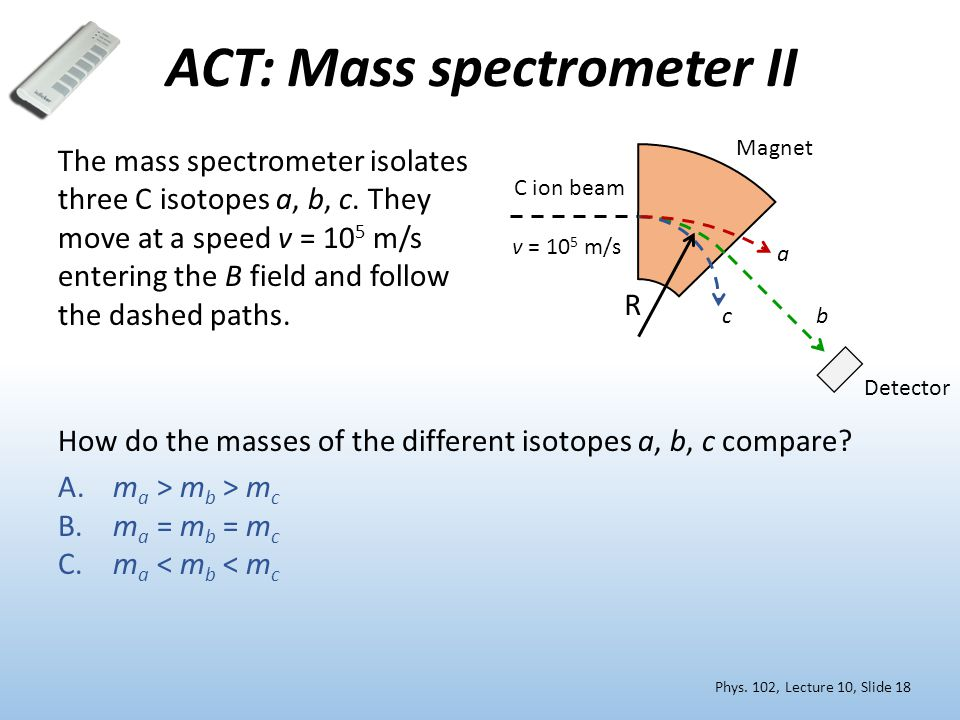 ACT: Mass spectrometer II The mass spectrometer isolates three C isotopes a, b, c. They move at a speed v = 10 5 m/s entering the B field and follow t
