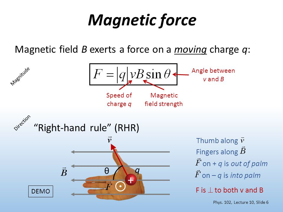 "Magnetic force Magnetic field B exerts a force on a moving charge q: Magnitude Direction ""Right-hand rule"" (RHR) Speed of charge q Magnetic field stre"
