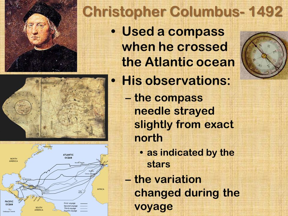 Christopher Columbus- 1492 Used a compass when he crossed the Atlantic ocean His observations: –t–the compass needle strayed slightly from exact north as indicated by the stars –t–the variation changed during the voyage