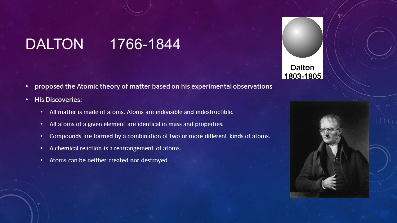 DALTON 1766-1844 proposed the Atomic theory of matter based on his experimental observations His Discoveries: All matter is made of atoms. Atoms are i