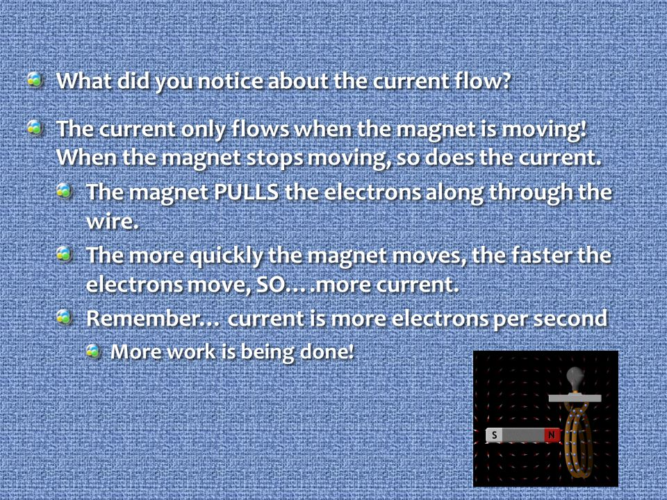 What did you notice about the current flow. The current only flows when the magnet is moving.