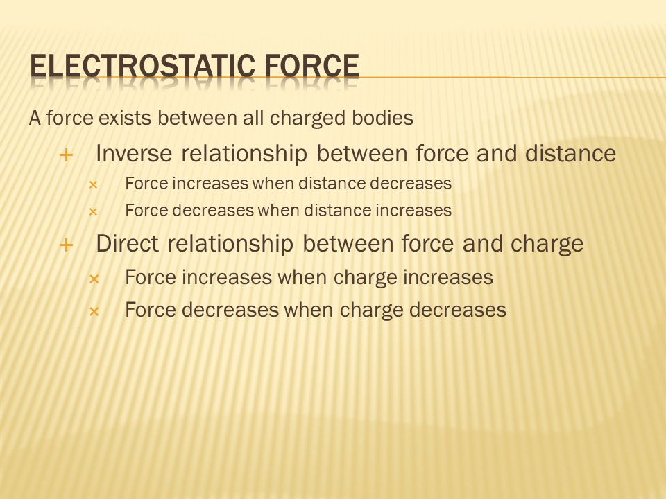 A force exists between all charged bodies  Inverse relationship between force and distance  Force increases when distance decreases  Force decreases when distance increases  Direct relationship between force and charge  Force increases when charge increases  Force decreases when charge decreases