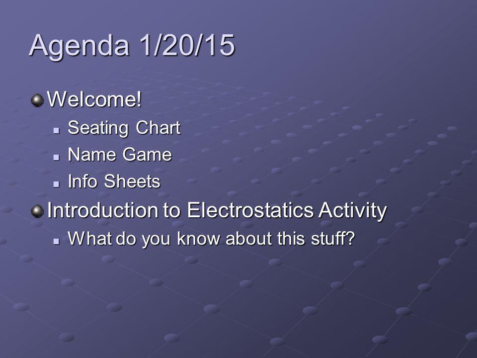 Agenda 1/20/15 Welcome.
