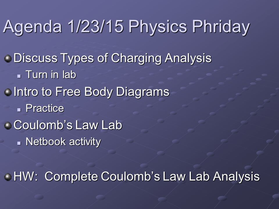 Agenda 1/23/15 Physics Phriday Discuss Types of Charging Analysis Turn in lab Turn in lab Intro to Free Body Diagrams Practice Practice Coulomb's Law Lab Netbook activity Netbook activity HW: Complete Coulomb's Law Lab Analysis