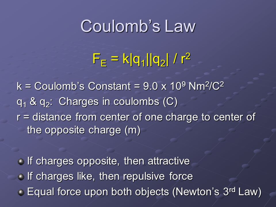 Coulomb's Law F E = k|q 1 ||q 2 | / r 2 k = Coulomb's Constant = 9.0 x 10 9 Nm 2 /C 2 q 1 & q 2 : Charges in coulombs (C) r = distance from center of one charge to center of the opposite charge (m) If charges opposite, then attractive If charges like, then repulsive force Equal force upon both objects (Newton's 3 rd Law)