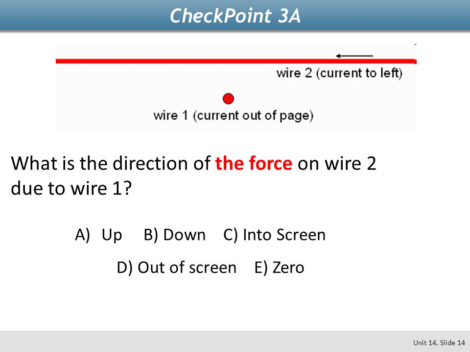 CheckPoint 3A What is the direction of the force on wire 2 due to wire 1? A)Up B) Down C) Into Screen D) Out of screen E) Zero Unit 14, Slide 14
