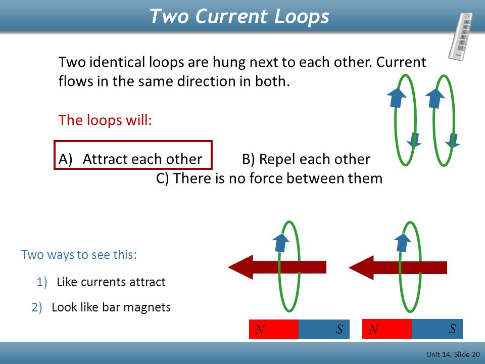 Two identical loops are hung next to each other. Current flows in the same direction in both. The loops will: A)Attract each other B) Repel each other