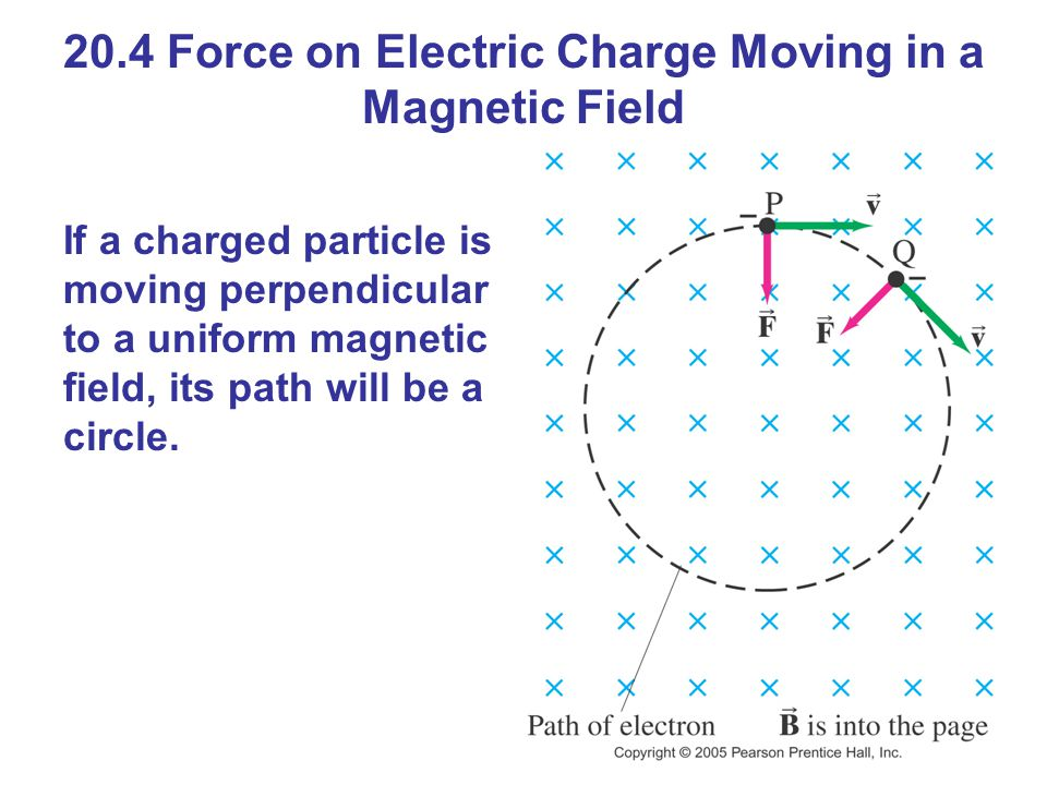20.4 Force on Electric Charge Moving in a Magnetic Field If a charged particle is moving perpendicular to a uniform magnetic field, its path will be a circle.