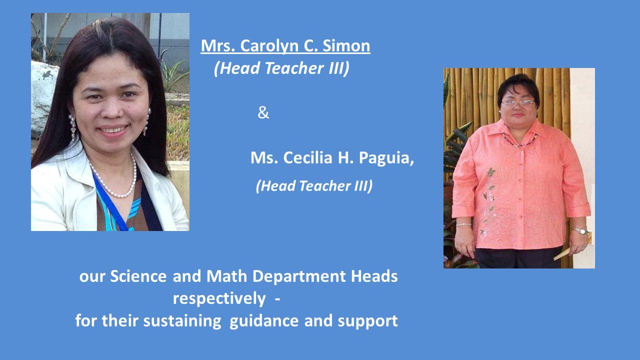 Mrs. Carolyn C. Simon (Head Teacher III) & Ms. Cecilia H.