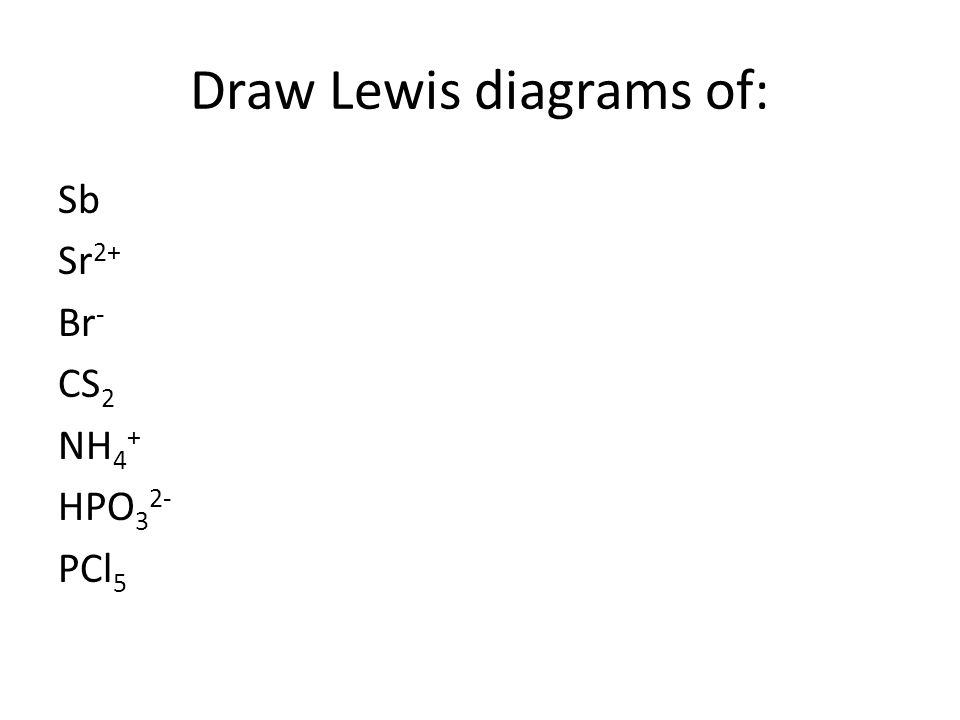 Draw Lewis diagrams of: Sb Sr 2+ Br - CS 2 NH 4 + HPO 3 2- PCl 5