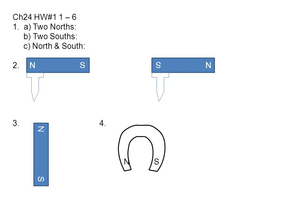 Ch24 HW#1 1 – 6 1. a) Two Norths: b) Two Souths: c) North & South: 2. 3. 4. N S N S