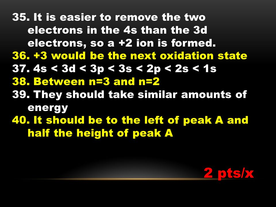 35. It is easier to remove the two electrons in the 4s than the 3d electrons, so a +2 ion is formed. 36. +3 would be the next oxidation state 37. 4s <