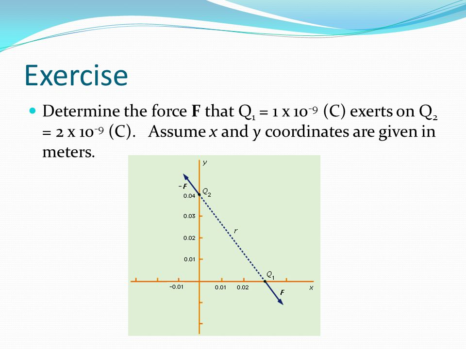 Exercise Determine the force F that Q 1 = 1 x 10 -9 (C) exerts on Q 2 = 2 x 10 -9 (C). Assume x and y coordinates are given in meters.