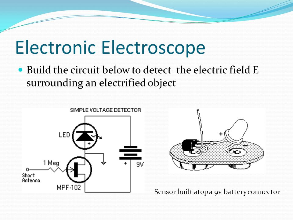Electronic Electroscope Build the circuit below to detect the electric field E surrounding an electrified object Sensor built atop a 9v battery connector