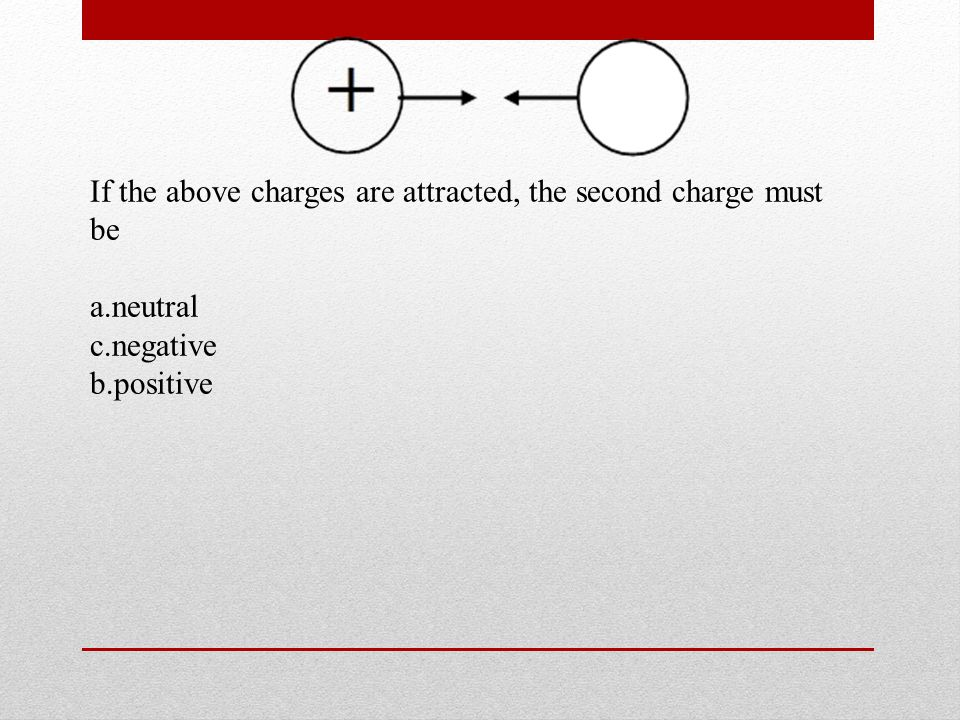 If the above charges are attracted, the second charge must be a.neutral c.negative b.positive
