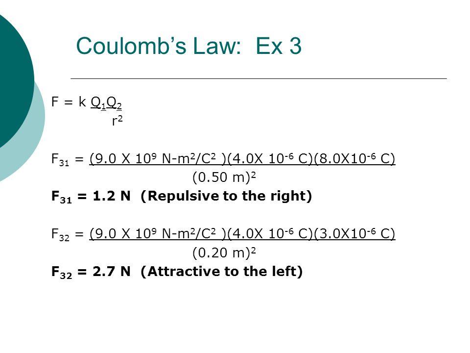 F = k Q 1 Q 2 r 2 F 31 = (9.0 X 10 9 N-m 2 /C 2 )(4.0X 10 -6 C)(8.0X10 -6 C) (0.50 m) 2 F 31 = 1.2 N (Repulsive to the right) F 32 = (9.0 X 10 9 N-m 2