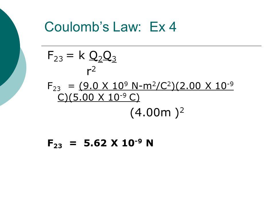 F 23 = k Q 2 Q 3 r 2 F 23 = (9.0 X 10 9 N-m 2 /C 2 )(2.00 X 10 -9 C)(5.00 X 10 -9 C) (4.00m ) 2 F 23 = 5.62 X 10 -9 N Coulomb's Law: Ex 4