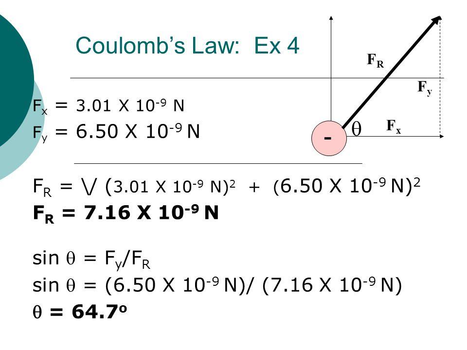 F x = 3.01 X 10 -9 N F y = 6.50 X 10 -9 N F R = \/ ( 3.01 X 10 -9 N) 2 + ( 6.50 X 10 -9 N) 2 F R = 7.16 X 10 -9 N sin  = F y /F R sin  = (6.50 X 10