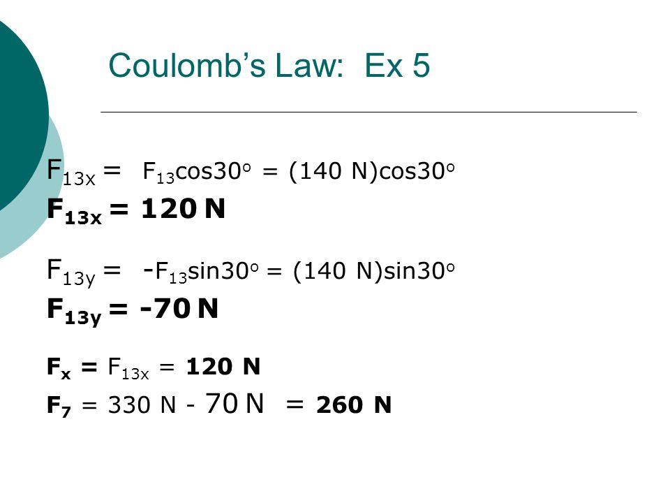 F 13x = F 13 cos30 o = (140 N)cos30 o F 13x = 120 N F 13y = - F 13 sin30 o = (140 N)sin30 o F 13y = -70 N F x = F 13x = 120 N F 7 = 330 N - 70 N = 260