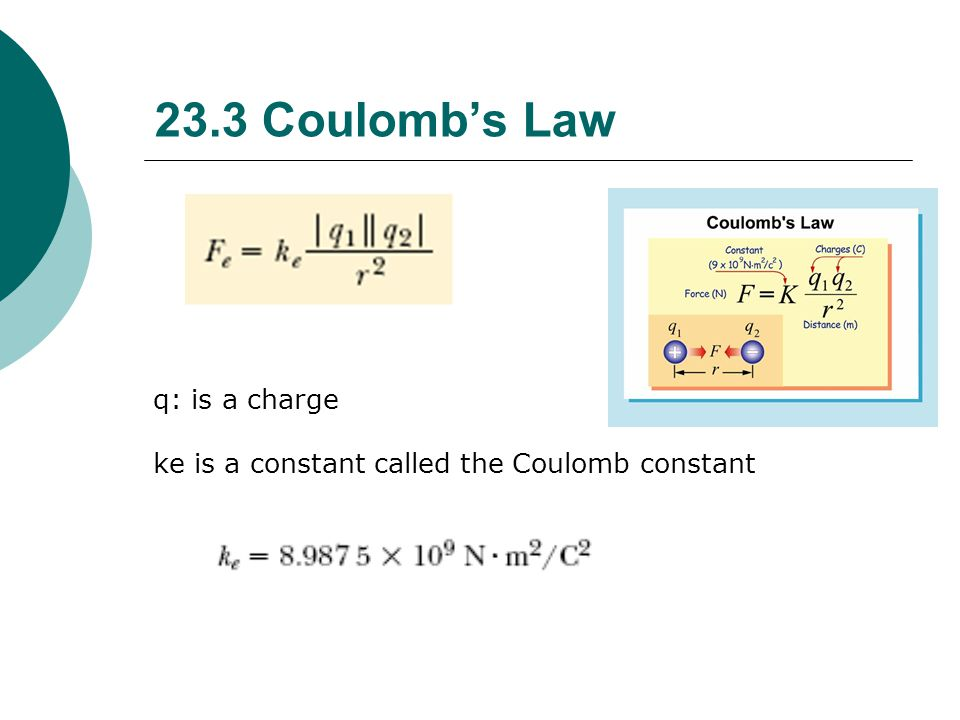 Coulomb's Law: Ex 2 What is the force between an electron and the three protons in a Li atom if the distance is about 1.3 X 10 -10 .