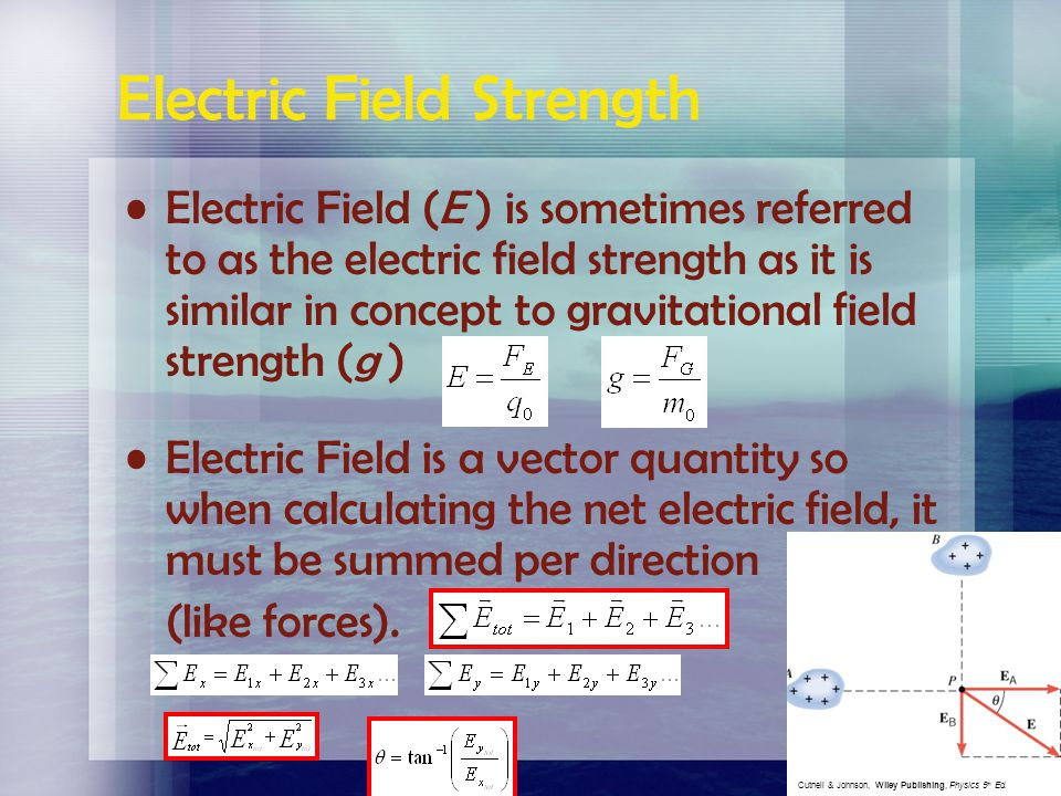 To normalize the electric field calculation, eliminating the arbitrary test charge we can substitute in Coulomb's Law for F E (1) (2) (2)  (1) Where