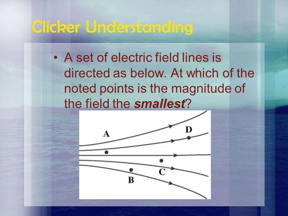Clicker Understanding A set of electric field lines is directed as below. At which of the noted points is the magnitude of the field the greatest?