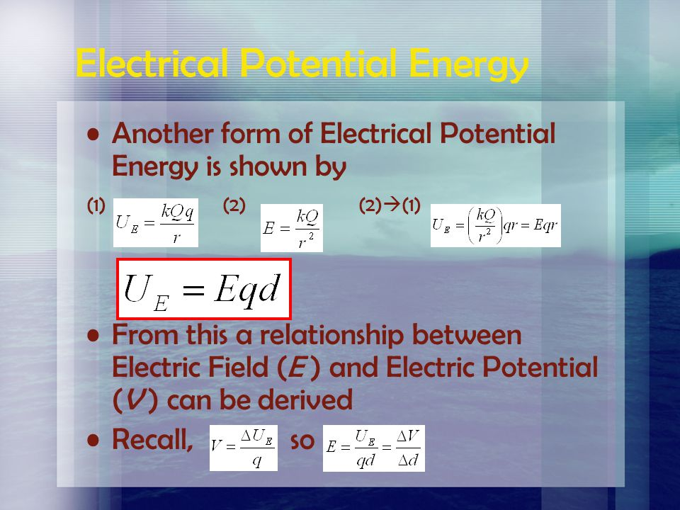 Electron Volt (eV) Unit of work (or energy) much smaller than the Joule. If 1 electron moves through a potential difference of 1V then 1 eV of work is