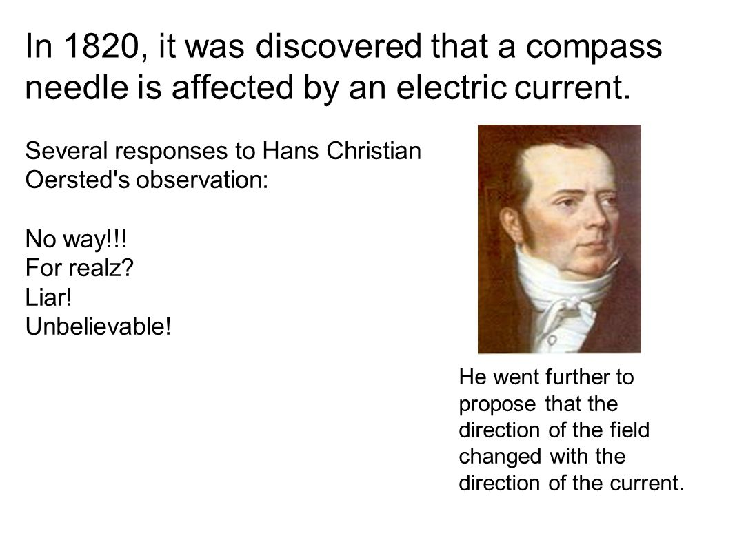 In 1820, it was discovered that a compass needle is affected by an electric current.