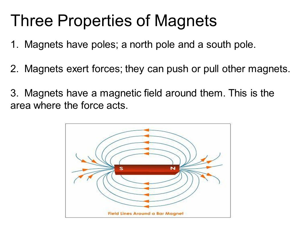 Three Properties of Magnets 1. Magnets have poles; a north pole and a south pole.