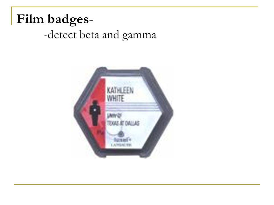 Film badges- -detect beta and gamma