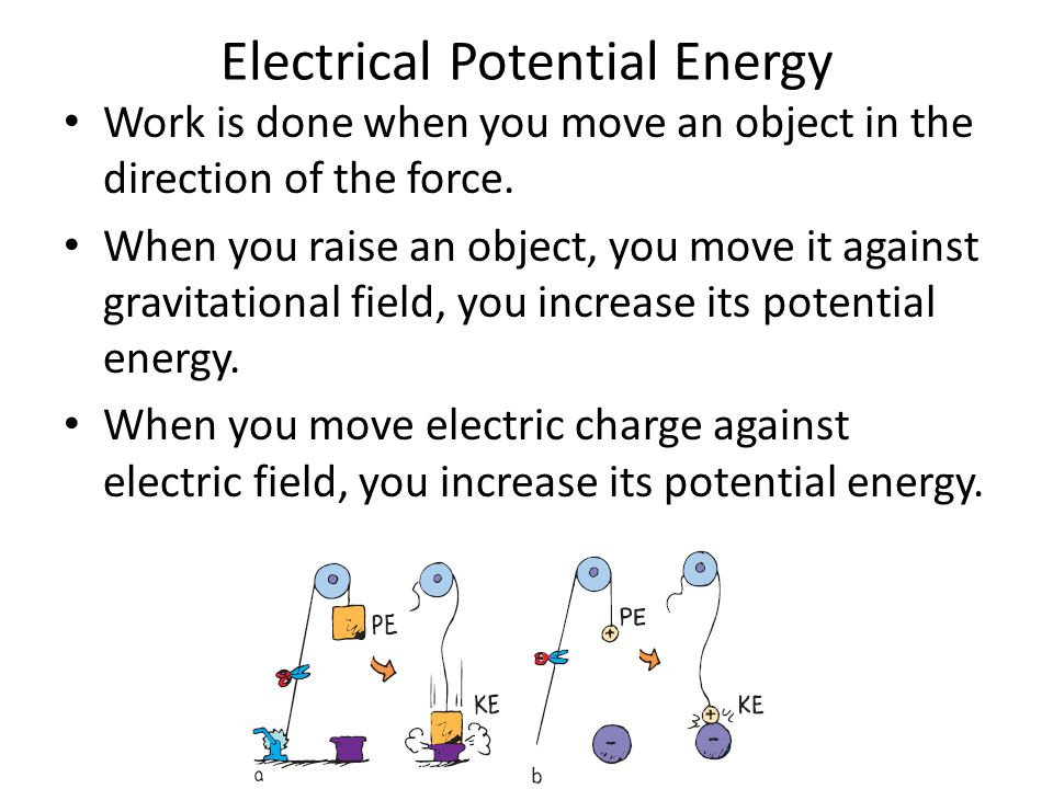 Electrical Potential Energy Work is done when you move an object in the direction of the force.