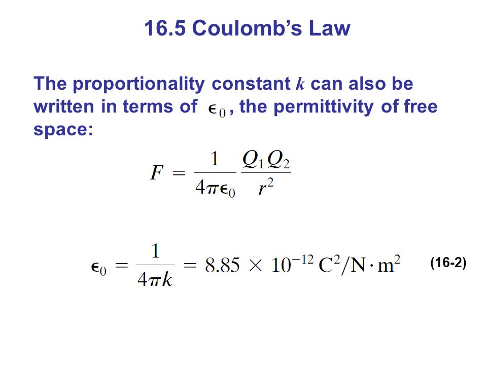 16.5 Coulomb's Law The proportionality constant k can also be written in terms of, the permittivity of free space: (16-2)
